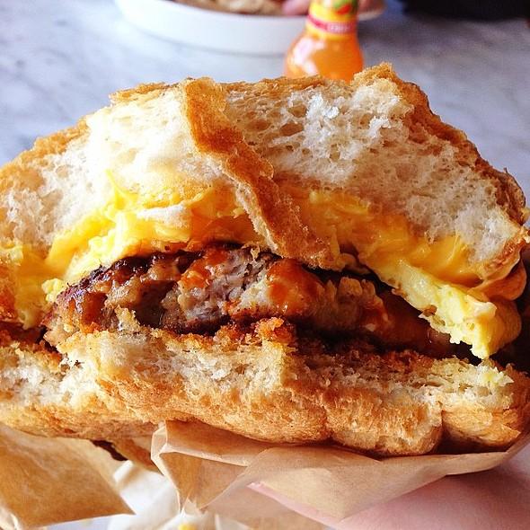 Breakfast Sandwich with Sausage @ ruffhaus hot dog co.