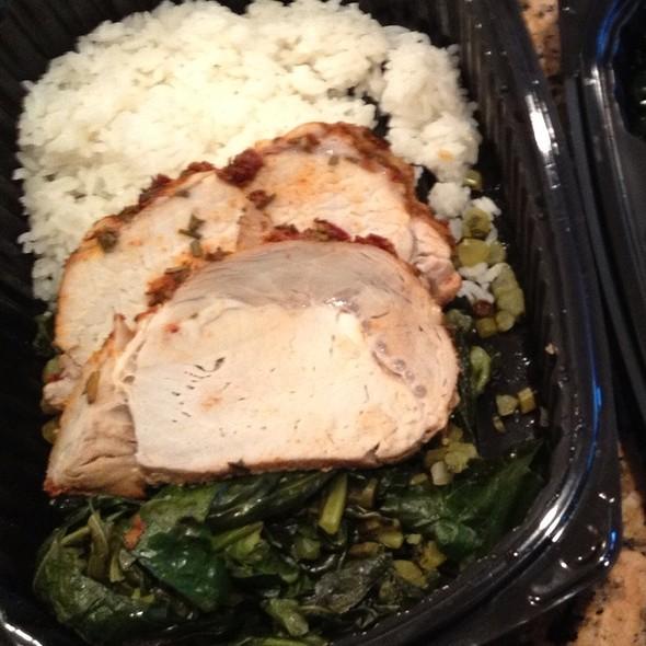 Smoked Pork Loin With Chipotle Glaze, Garlic Rice, And Greens - Chef Bala Smith @ Munchery