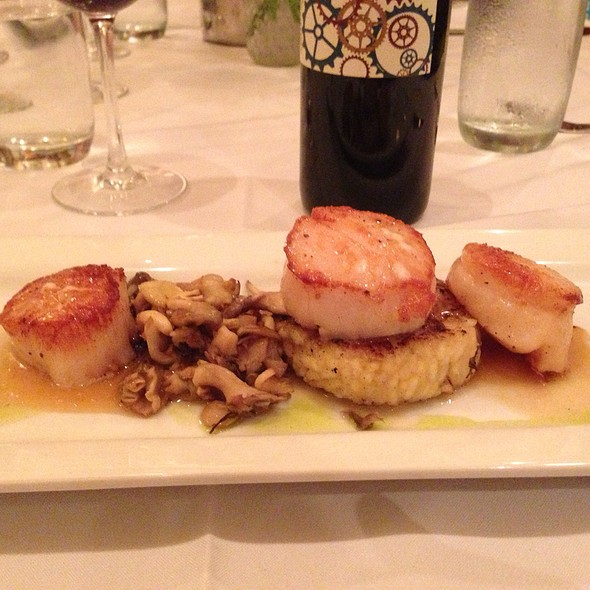 Scallops And Foie. Diver Scallops And Foie Gras With Salad Of Pea Tendrils, Bulls Blood And Micro Greens.  - Liberty Street Grill, Savannah, GA