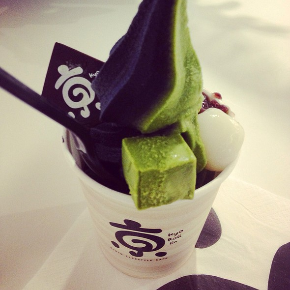 Matcha And Charcoal Vanilla Soft Serve With Matcha Roll With Strawberry Mousse