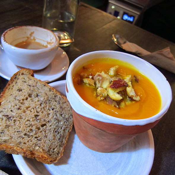 Housemade Pumpkin Soup with Roasted Chestnuts
