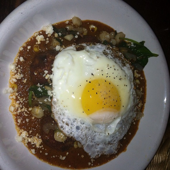 Kobe Beef Albondigas | Chiltomato Sauce | Nixtamal + Spinach | Truffle Oil | Queso Cotija