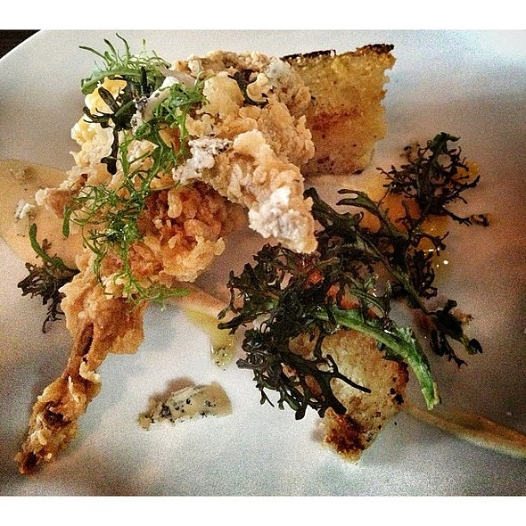 Fried Quail; cornbread, carrot vinaigrette, blue cheese. @ Two Boroughs Larder