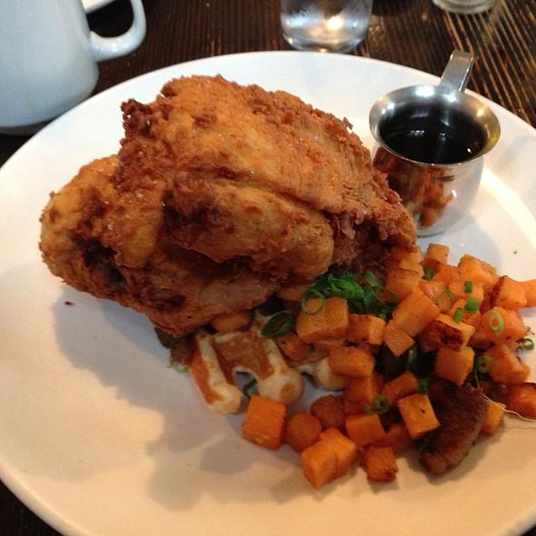 Fried Chicken & Waffles W/ Sweet Potato Hash @ Longman & Eagle