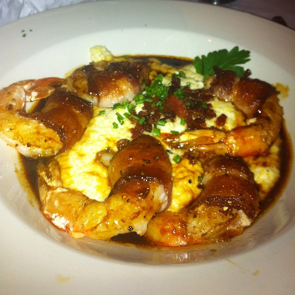 Bacon wrapped shrimp and grits
