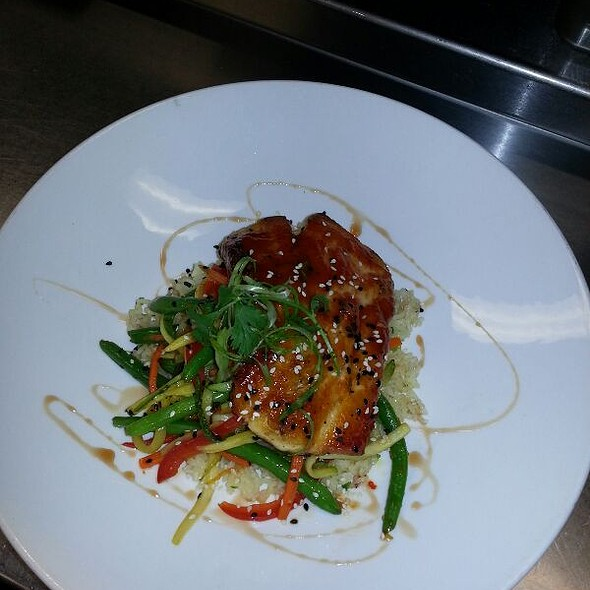Sear Covina With An Asian Bbq On A Bed Of Rice And Saute Veggie