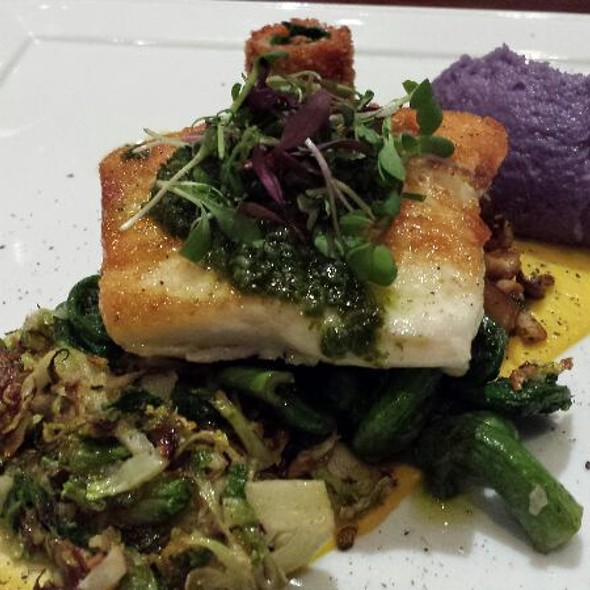Pan Fried Halibut with Purple Potatoes, fiddleheads,shredded Brussel Sprouts, mushrooms and Peas  - Catch Restaurant Upstairs, Calgary, AB