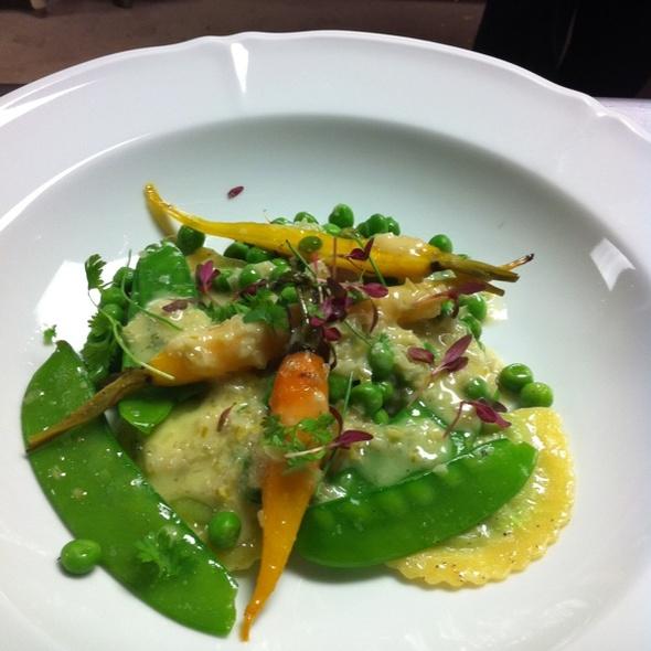 Green Pea Ravioli, Spring Onion Beurre Blanc, Baby Carrots, Snap Peas, Green Peas. - Grace - Portland, Portland, ME