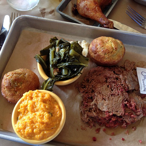 Beef Brisket With Collard Greens And Mashed Sweet Potatoes @ Union Wood Shop