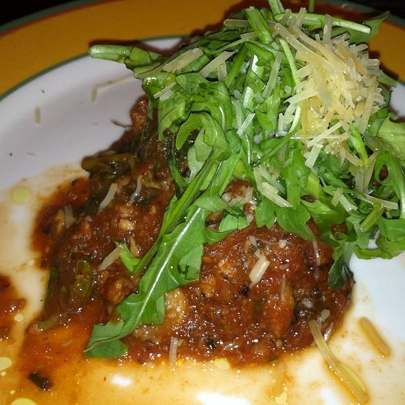 Veal Ricotta meatball, crispy eggplant, spicy tomato, lemon dressed arugula, parmesan - Moro, Wilmington, DE