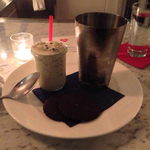 Mint-Cocao Nib Milkshake, Sea Salt Chocolate Shortbread Cookies - The Bachelor Farmer, Minneapolis, MN