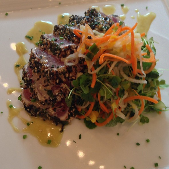 Seasame & Mint Crusted Tuna With A Mandarin Orange, Mint, Lavender, Daikon, & Cucumber Salad With A Wasabi Honey Vinaigrette - Roots Steakhouse - Morristown, Morristown, NJ