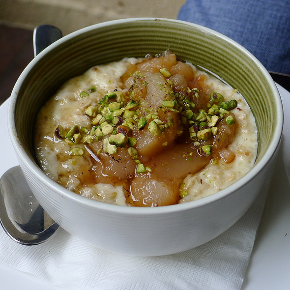 Porridge with Poached Pears, Honey and Pistachio @ Circa Espresso