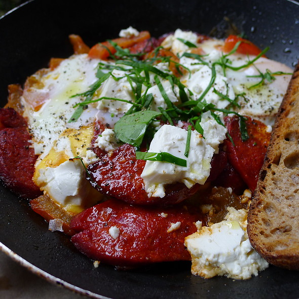 Baked Eggs with Sujuk, Danish Feta, Tomato and Hint of Chilli Served in the Pan with Sourdough @ Circa Espresso