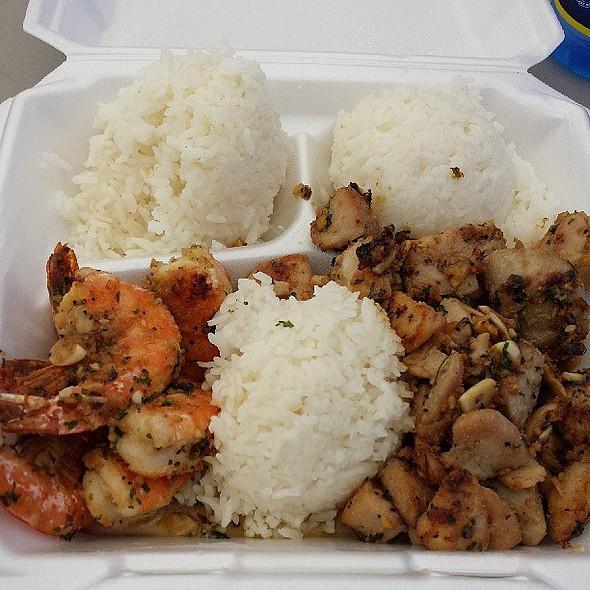 Garlic shrimp and garlic chicken combo from Kau Kau Grill. @ Kau Kau Grill Truck