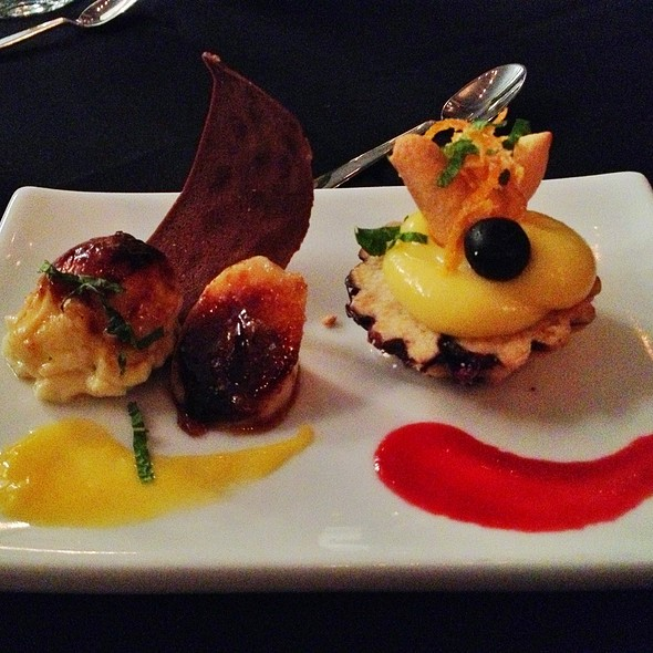 Coconut Creme Brulee with Caramelized Banana & Blueberry Pie topped with Fresh Lemon Curd - Mezzaluna, Fargo, ND
