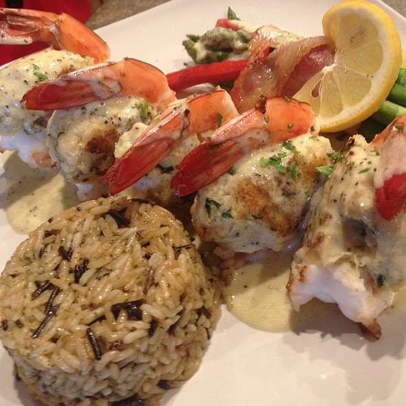 Crab Stuffed Jumbo Prawns With A Lemon Pepper Sauce