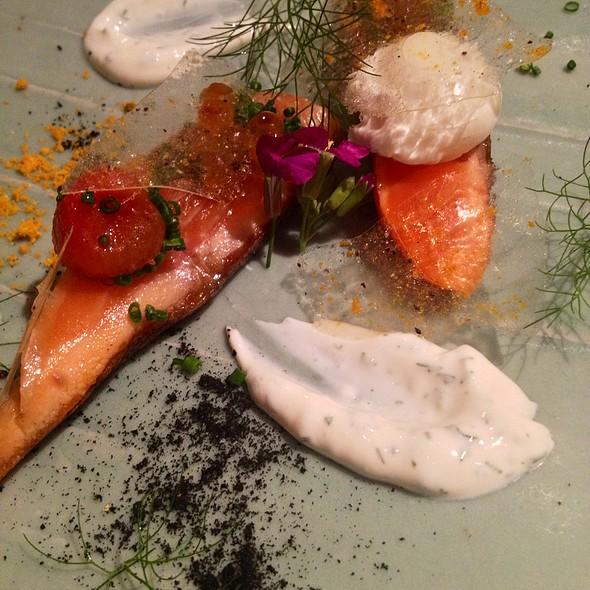 Slowly Cooked Arctic Char, Orange Zest Ash, Black Pepper Glass @ Spago Beverly Hills