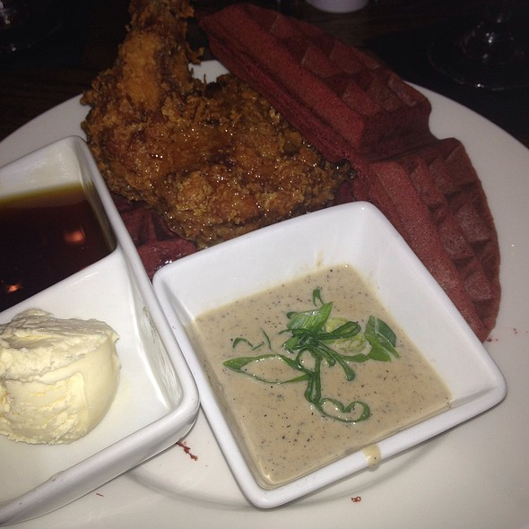 Chicken and Red Velvet Waffles @ The Wine Dive