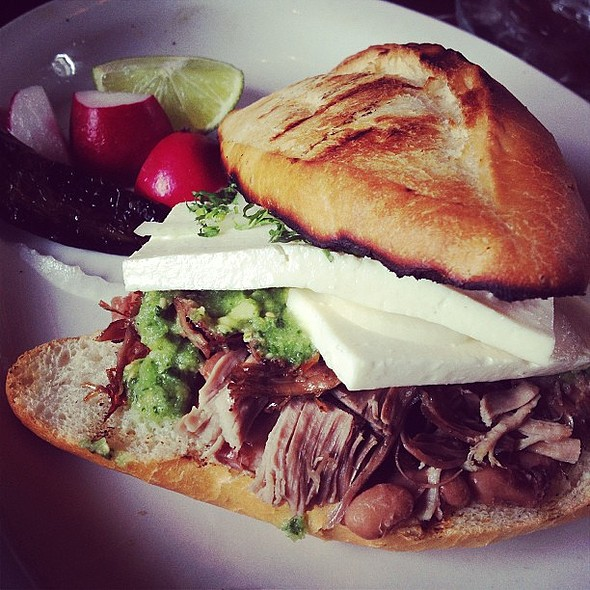 Had no idea what a torta was. Ordered it because the menu said carnitas and queso and I like those things. @ Don Pisto's