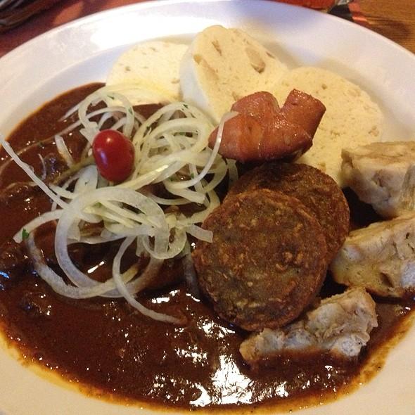 Pilsner Beef Goulash with dumplings and potato pancake @ Restaurant Zlatý klas