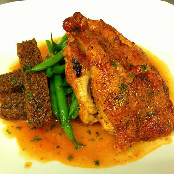 Roasted Natural Chicken Over Haricot Vert, Falafel Fries With Lemon Whole-Grain Mustard Jus - Aquarius - Dream Inn, Santa Cruz, CA