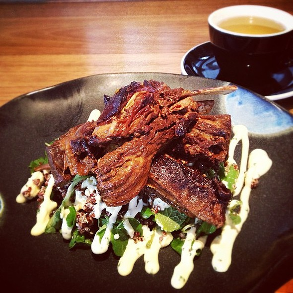 Lamb ribs, quinoa, green beans, feta cheese, ranch dressing @ St Edmond's