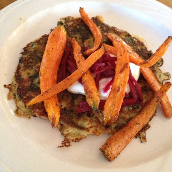 Spinach & Lemon Pancake With Roasted Carrots, Chevre, Beets, And Honey @ Liquids and Solids at the Handlebar