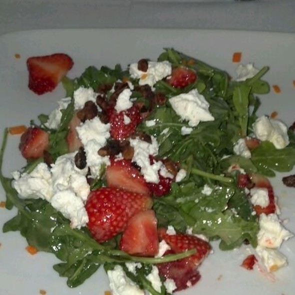 Strawberry & Arugula Salad With Goat Cheese, Candied Pecans, & Champagne Vinaigrette @ On the Square