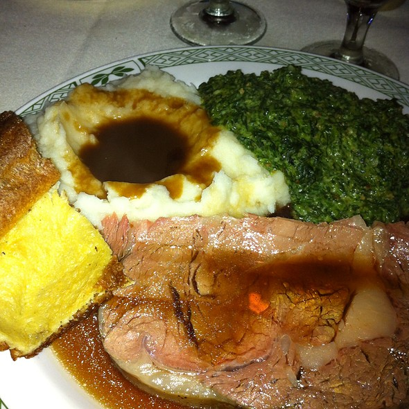 Prime Rib, Mashed Potatoes, Yorkshire Pudding, Creamed Spinach