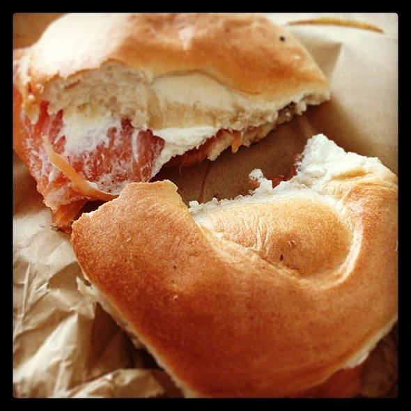 Good morning! Kicking off the weekend with a salmon and cream cheese bagel. Yum!