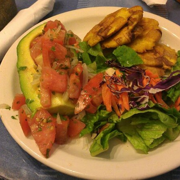 Avocado Stuffed With Vegetables, Fried Plantains, Green Salad.  @ Cafe El Punto