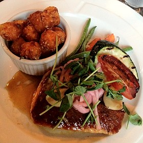 Maple Glazed Salmon W/ Sweet Potato Tater Tots