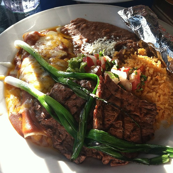 Carne Asada And Cheese Enchilada Plate