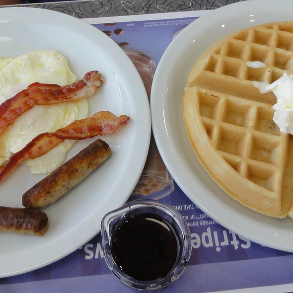Waffles, eggs, bacon, and sausage @ Denny's