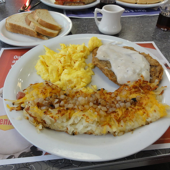 Country fried steak, eggs, and hash browns @ Denny's