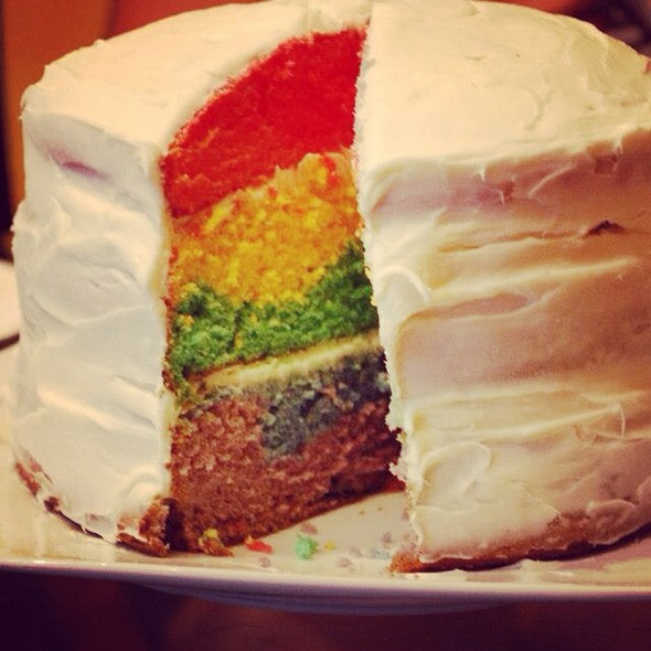 Super Freakin Awesome Rainbow Layer Cake Sliced