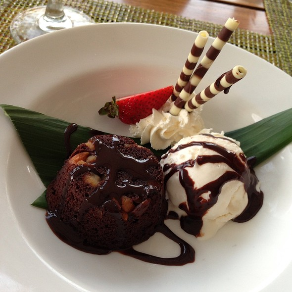 Macadamia Nut Fudge Brownie - Nanea Restaurant and Bar, Princeville, HI