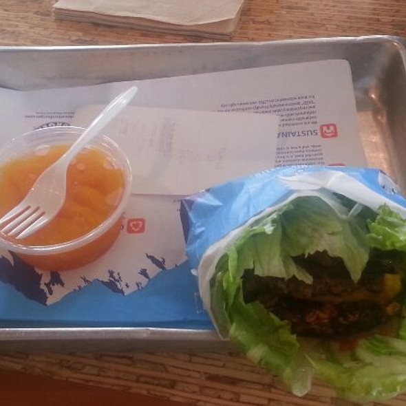 Half the Guilt 2 Burger wrapped w/Mandarin Oranges @ Elevation Burger