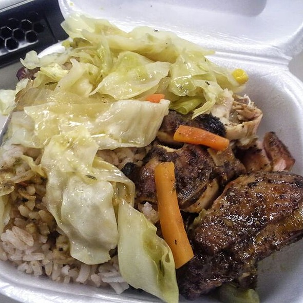 Jerk Chicken With Cabbage, Red Beans And Rice @ Mama's Paradise Caribbean And American