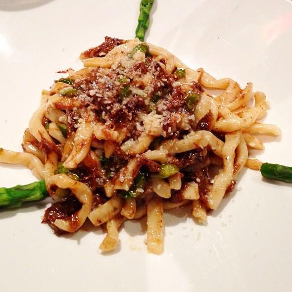 Bigoli Pasta with Braised Oxtail and Asparagus @ Donato Enoteca