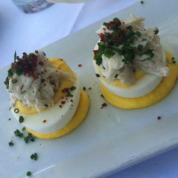 Deviled egg with crabmeat @ noah's