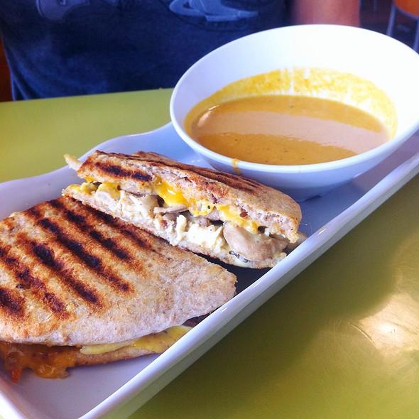 Honey Chicken Flatbread And Butternut Squash Soup