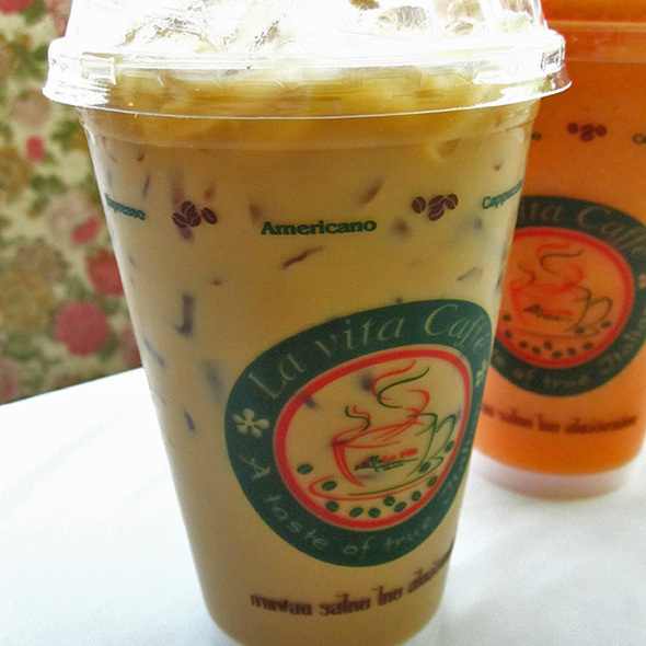 Iced Latte with Caramel Syrup @ Mellow