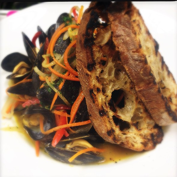 Steamed Mussels In Carrot-Miso Broth With Fines Herbes And Grilled Ciabatta. @ Ste. Marie