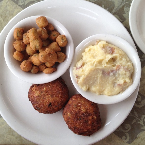 Salmon Patties, Fried Okra, Garlic Mashed Potatoes