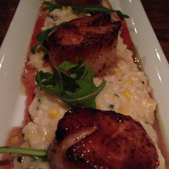 Scallops With Bacon & Corn Risotto And A Cranberry Reduction - Ocean 235, Easton, PA