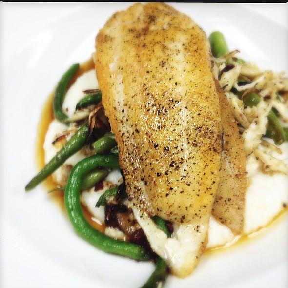 Today's Fish Special. Sautéed La Flounder Over Creamy Grits, La Crabmeat, Haricot Vert And Bacon Ragout, Brown Butter Vinaigrette @ Ste. Marie