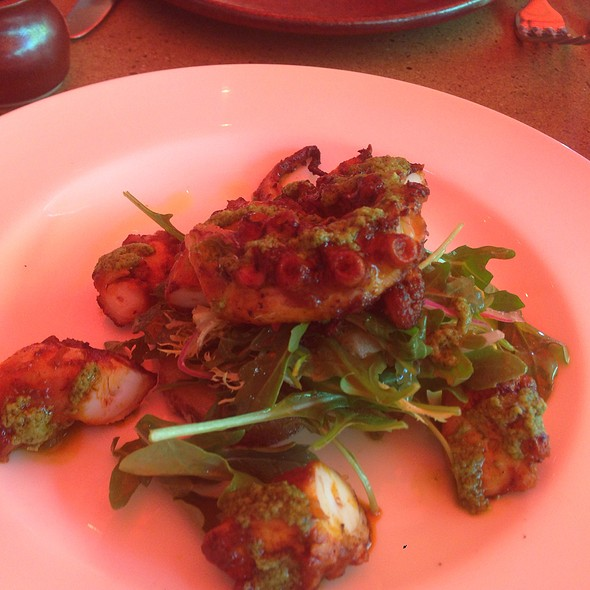 Grilled Octopus Salad With Arugula And Lemon Aioli Dressing @ Bottega