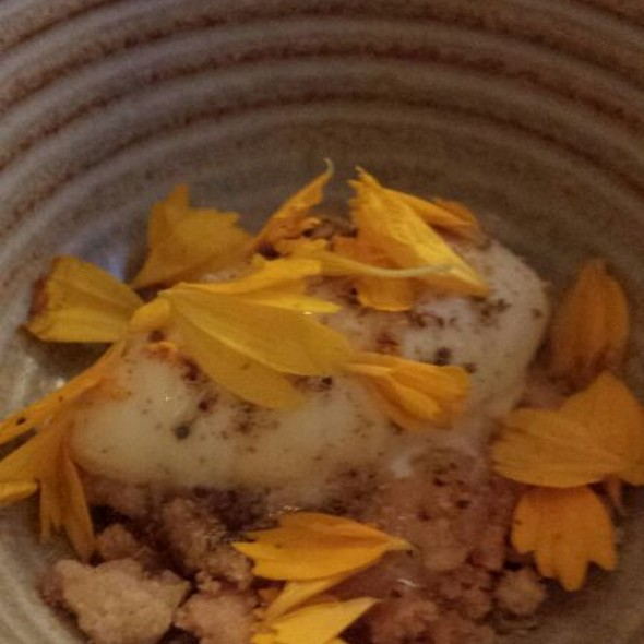 Crème of Ginger & Chrysanthemum with smoked Ice cream perfumed with Lime. Served with Tar syrop & Birch tree oil. Dried Meadowsweet & Ginger cookies